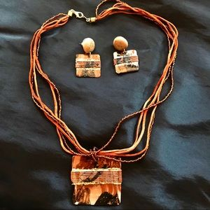Jewelry - Tribal Brown Bead and Leather  Necklace